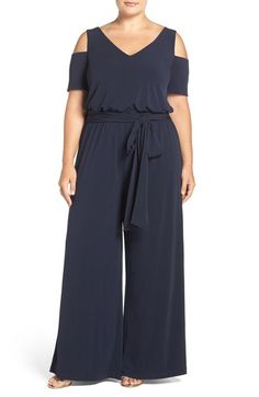 Mynt 1792 Belted Jersey Cold Shoulder Jumpsuit (Plus Size) available at #Nordstrom
