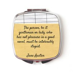 Jane Austen Compact Mirror Jane Austen Gift Jane Austen Quote Compact... (€11) ❤ liked on Polyvore featuring beauty products, beauty accessories, bath & beauty, hand & pocket mirrors, makeup & cosmetics, makeup tools & brushes and silver