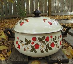 Vintage Sheffield Strawberries and Cream Dutch Oven by GingerNIrie, $45.00