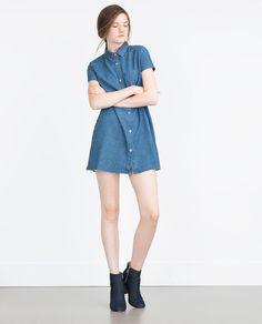 "Image 1 of ""ESSENTIALS"" DENIM DRESS from Zara"
