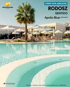 SENTIDO Apollo Blue 🧡🧡🧡🧡🧡 Görögország, Rodosz, Faliraki  www.neckermann.hu/szallas/sentido-apollo-blue/52079?catalog=NAH  Az antik görög építészetre emlékeztető stílusban kialakított SENTIDO Apollo Blue hotel harmonikusan illeszkedik a környezetbe. A modern és elegáns, közvetlen tengerparti szállodát nem csak lenyűgöző építészeti stílus és lélegzetelállító kilátás jellemzi, vendégeinket elsőosztályú kiszolgálás, kiváló konyha és hamisítatlan görög vendégszeretet várja. Naha, Apollo, Hotels And Resorts, Outdoor Decor, Blue, Apollo Program
