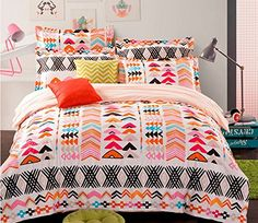 Cliab Tribal Bedding for Teens Aztec Bedding Exotic Orange Red Black Duvet Cover Set 100% Cotton 4 Pieces Cliab