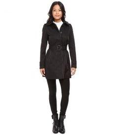 LAUREN Ralph Lauren Faux Leather Piped Hooded Rain (Black) Women's Coat