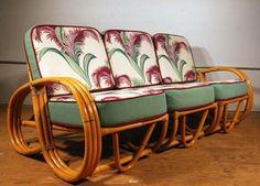"""Hmm, pretzels!  Mid Century Paul Frankl rattan """"pretzel"""" couch."""
