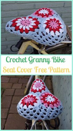 DIY Crochet Bicycle Fashion Patterns Ideas and Instructions Crochet For Boys, Crochet Home, Crochet Gifts, Diy Crochet, Granny Square Crochet Pattern, Crochet Granny, Crochet Stitches, Bike Seat Cover, Knitting Patterns