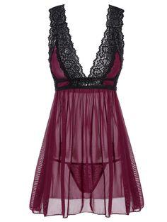 $9.18 Low Cut See-Through Lace Sleepwear Trim Babydoll