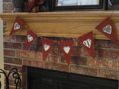 Valentine's Hearts Burlap Banner READY TO by TaraAlexanderDesigns, $16.75