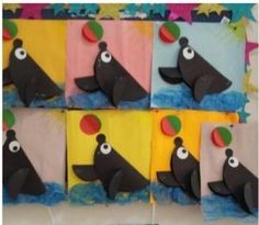 Seal craft idea for kids – Crafts and Worksheets for Preschool,Toddler and Kindergarten Seal Crafts For Kids, Art For Kids, Arts And Crafts, Circus Crafts, Circus Art, Preschool Color Activities, Preschool Activities, Preschool Circus, Circus Activities