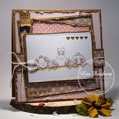 Row of Bunny Wobbles with lots of love card by Lou Daubney