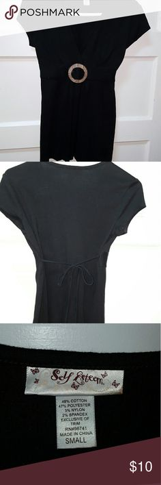 ?Black Summer Tunic? Cotton blend,  low neckline, Empire waist with decorative gather in front, strong tie back.  Like new. Tops Tunics