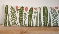 Kiran Ravilious - Jungle plants. Lino print cushion. 100% linen