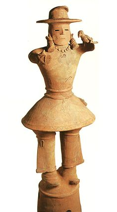 The king who puts a hawk on the arm.   The Kofun period art, Haniwa terracotta clay figure.   The 500s. Ota-city gunma Japan.