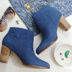 "Cole Haan Blue Suede Booties Size 7.5, side zip and 3.5"" heel. New in box. 12141506 Cole Haan Shoes Ankle Boots & Booties"