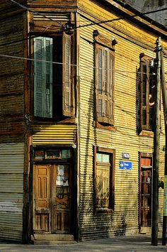 La Boca Buenos Aires, Argentina -- OMG! That door detail! and the shutters!  Must. Build. This.