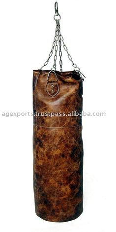old fashioned leather punching bag -