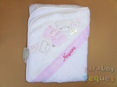 Capa de ba/ño para bebe BORDADA con nombre Rosa Capa toalla regalo recien nacido modelo coronas
