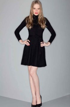 A-Line Knit Dress Black