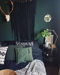 Bedroom dark blue green monstera urban jungle