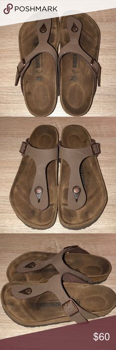 Birkenstock Gizeh Sandals Only worn once, great condition. Mocha color. Size 36. Birkenstock Shoes Sandals