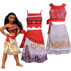 Child Moana Princess Costume Girls Kids Fancy Dress Crop Top And Skirt Outfit  Princess Costumes f9c16b861982