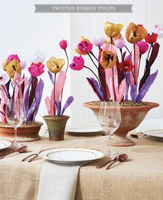 Paper ribbon tulips