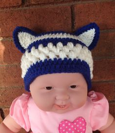 Blue and White CAT Beanie - U of Ky - Wildcats - Babies and child to 10 years. $15.00, via Etsy.