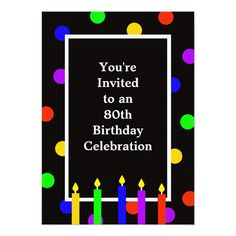 80th Birthday Party Invitation 60th Invitations Colorful 75th Parties