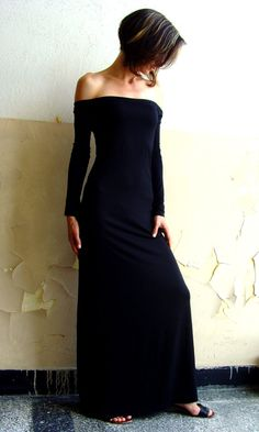 CUSTOM MADE Eco Friendly Cocktail Maxi Tight Long Cocktail Strapless Dress Off Shoulder In Black