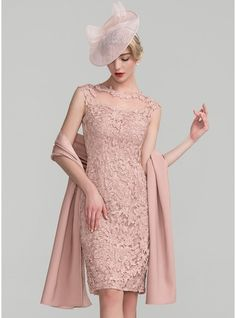 JJsHouse Sheath/Column Scoop Neck Knee-Length Zipper Up Cap Straps Sleeveless Yes Dusty Rose General Plus Lace Mother of the Bride Dress. Mob Dresses, Event Dresses, Wedding Party Dresses, Fashion Dresses, Bride Dresses, Ruffle Beading, Bride Groom Dress, Over 50 Womens Fashion, Special Occasion Dresses