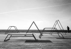 Inspired by the shape of the Kebnekaise, the highest mountain in Sweden, the outdoor gym features five peak-like structures that provide stations for low-impact resistance training, body conditioning, and stretching.