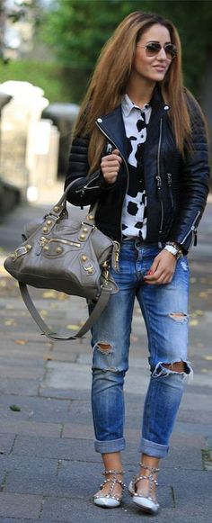 Leather jacket boyfriend jeans grey balenciaga and or gorgeous sandals. Perfect early fall look