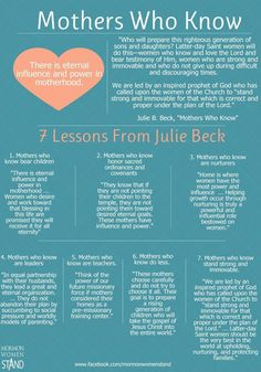Mothers Who Know: Julie B. Beck (Infographic from Mormon Women Stand) Lds Quotes, Inspirational Quotes, Mormon Quotes, Quotable Quotes, Journaling, General Conference, Conference Talks, Lds Church, Church Ideas