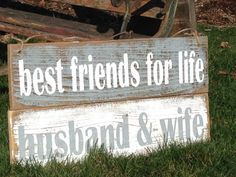 Best Friends for Life HUSBAND and WIFE rustic wood sign Rustic wedding, amazing post id 4245963681 - Whip smart concept. Wedding Trends, Wedding Tips, Diy Wedding, Fall Wedding, Wedding Planning, Dream Wedding, Wedding Stuff, Wedding Venues, Elegant Wedding