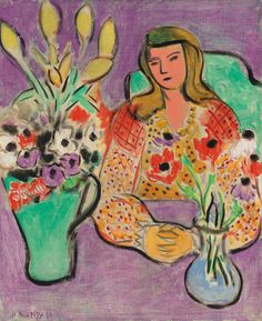Henri Matisse Jeune fille aux anémones sur fond violet, signed and dated 'H. Matisse (lower left), oil on canvas, x in. Painted in Vence in March 1944 Henri Matisse, Matisse Kunst, Matisse Art, Matisse Paintings, Art Moderne, Purple Backgrounds, Mondrian, Kandinsky, Pablo Picasso