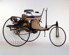 Benz Patent Motor Car, the first automobile (1885 – 1886) The first stationary gasoline engine developed by Carl Benz was a one-cylinder two-stroke unit which ran for the first time on New Years Eve 1879.