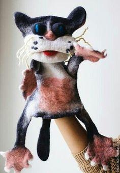 Кукольный театр ручной работы. Ярмарка Мастеров - ручная работа. Купить игрушка на руку. Handmade. Черно-белый