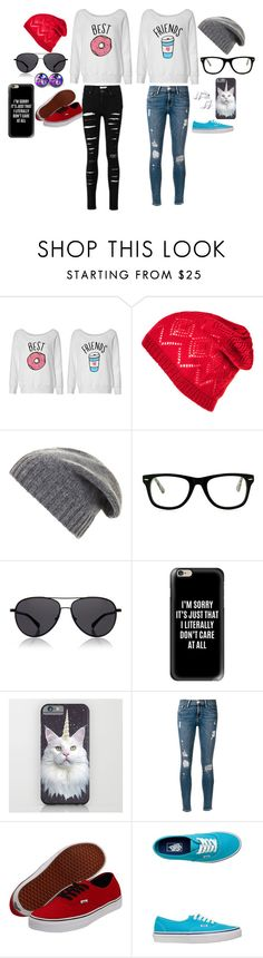 """""""Bestfriends"""" by jayjaypanda on Polyvore featuring BCBGMAXAZRIA, Muse, The Row, Casetify, Frame Denim and Vans"""
