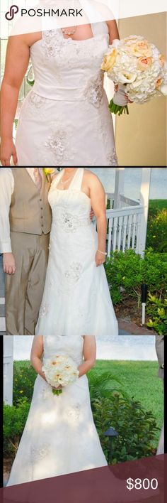 Maggie Sottero Geneva Gown size 18 Originally paid $1300.  Asking $800 OBO.  Give me a reasonable offer.  Was only worn for 1 hr long ceremony.  Size 16-18.  Strap was added - can be easily removed.  Was professionally cleaned and is still in bag.  Ivory color.  Go online and look up Geneva dress Maggie Sottero to get a better idea of details.  Serious offers only.  I will remove strap if requested. maggie sottero Dresses Wedding