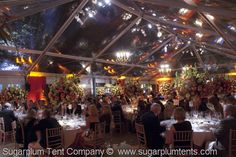 The lights bounce off the ceiling in a clear tent.  ( #wedding tents, #party tent, #tent lighting ideas, #clear tent )