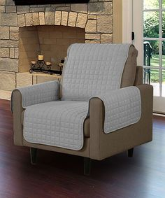 Love this Gray Microsuede Chair Pet Protector Slip Cover by Linen store on #zulily! #zulilyfinds