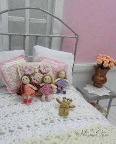 Micro amigurumi girl doll with pink dress dollhouse by MiniGio