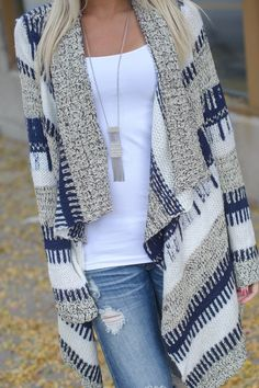 Women's Fall Fashion Fun Print Boyfriend Open Knit Cardigan  Long Sleeve Plaid Grey Blue Stripe Sweater  Search more at chicnico.com♥