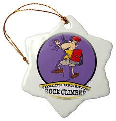 3dRose Funny Worlds Greatest Rock Climber Cartoon - Snowflake Ornament, Porcelain, 3-Inch (orn_103506_1) * You can get more details here : Wedding Decor