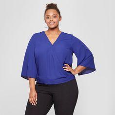 cb4b69fa9d Women s Plus Size Wrap Front Short Sleeve Top - Ava