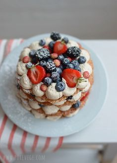 Berry Cake// Paper-thin oat cookies, cream and fresh berries stacked into a cake