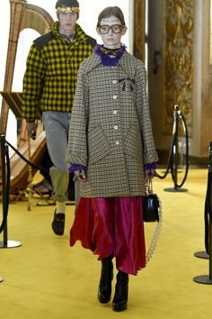 Gucci Resort 2018 collection.  Would love to see dress under this jacket.  Plaid, fuchsia, purple.