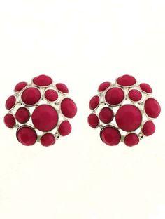 Red Gemstone Gold Net Stud Earrings