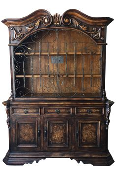 This Old World Tuscan Furniture Has Metal Scroll Doors Hutch Hand Forged Hardware