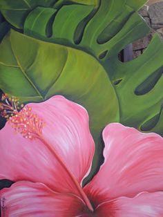 """hibisco rosa""                                                       … Fruit Painting, Ceramic Painting, Tropical Art, Tropical Plants, Hawaiian Art, Mural Art, Beach Art, Nature Pictures, Botanical Prints"