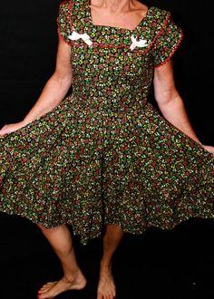 Vintage Cotton Print Dress by WildOatStudios on Etsy